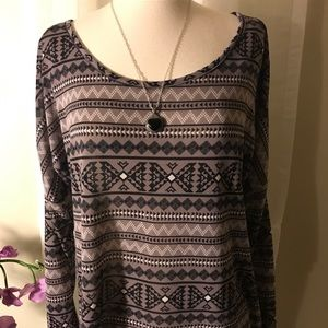 Charlotte Ruse High Low Tribal Print Top